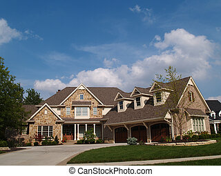 2 Story Stone & Brick Resid Home - Large two story stone and...