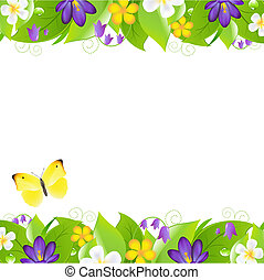 2 Summer Flowers Borders With Butterfly