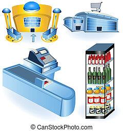 2, supermercado, ícones