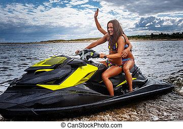 2, swimwear, 楽しみ, 女の子, leisure., モデル, ジェット機, 持ちなさい, スキー, セクシー