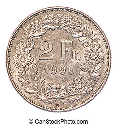 2 Swiss Francs coin