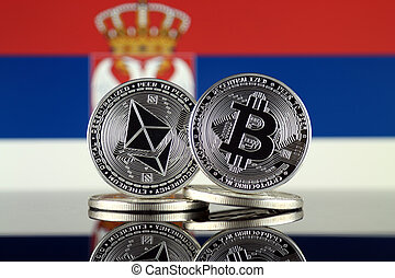 2, términos, flag., (btc), serbia, bitcoin, cryptocurrencies...