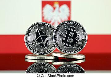 2, términos, flag., polonia, (btc), bitcoin,...