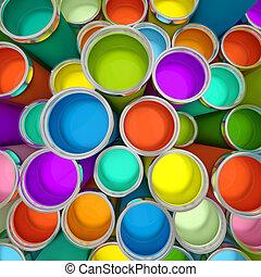 2, többszínű, bankot használ, vakolás, festék, 3