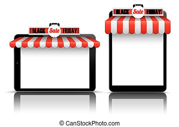2 Tablets Red White Awning Black Friday - Set of realistic 2...