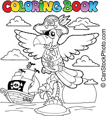 2, tema, coloritura, pirata, libro