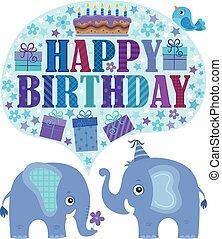 2, tema, compleanno, felice, elefanti