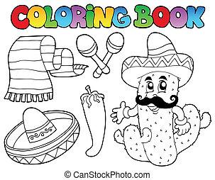 2, thème, coloration, mexicain, livre