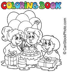 2, thème, livre coloration, fête