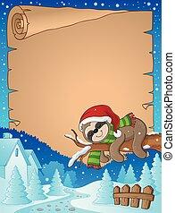 2, thema, faultier, pergament, weihnachten