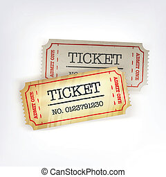 2, tickets., ベクトル, イラスト, eps10