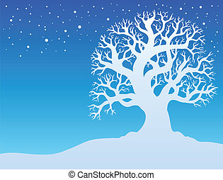 2, träd vinter, snö