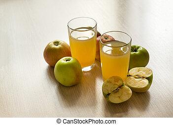 2, two, glasses, Apple juice, juice, apples, fruit,