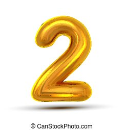 2 Two Number Vector. Golden Yellow Metal Letter Figure. Digit 3. Numeric Character. Alphabet Typography Design Element. Party Foil Symbol. Numeral Metallic 3D Realistic Illustration