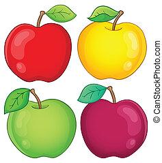 2, vário, maçãs, cobrança