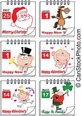 2., vacanza, calendari, set, collezione
