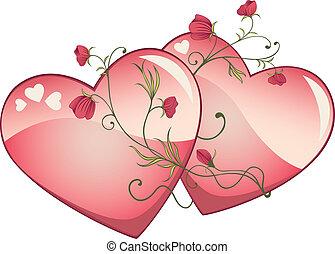 2 Valentine hearts