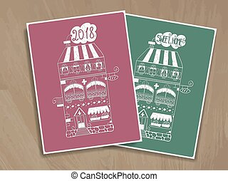 2 vector greeting cards with houses