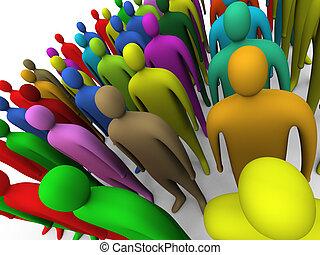 #2, veelkleurig, menigte