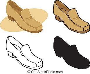 2, vektor, manlig, sko