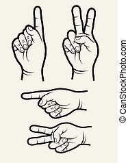 2, vetorial, mão, sinais