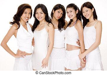 #2, vit, asiatiska kvinnor