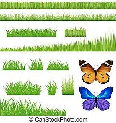 2, vlinder, en, groen gras, set