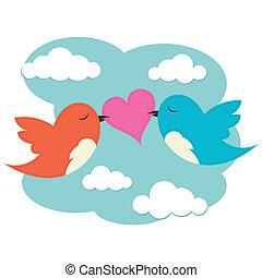 2, vogels, met, liefdehart