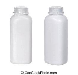 2 white plasti? small bottles isolated on white