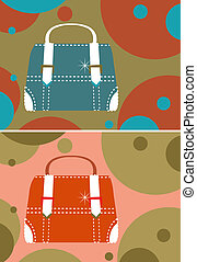2 women bag cards on color background, retro style, vintage