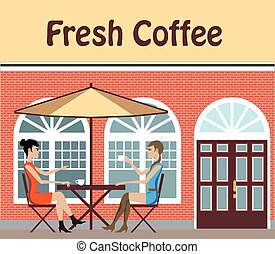 2 Women drinking coffee at a cafe