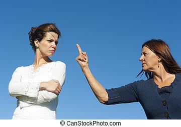 2 women, két, nemzedék, argueing