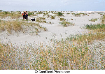 2 Women walking in the sand dunes with beach grass