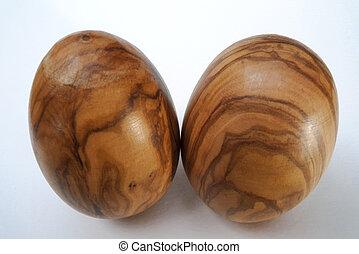 2 wood olive eggs