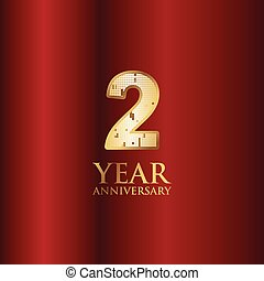 2 Year Anniversary Gold With Red Background Vector Template Design Illustration
