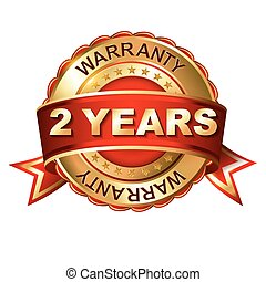 2 year warranty golden label with ribbon. Vector...