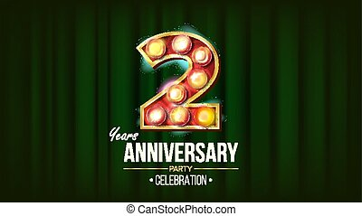 2 Years Anniversary Banner Vector. Two, Second Celebration. 3D Glowing Element Digits. For Happy Birthday Luxurious Advertising Design. Modern Green Background Illustration