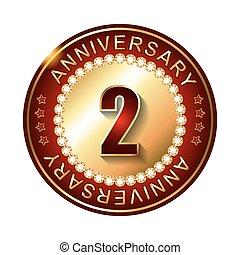 2 Years anniversary golden label.