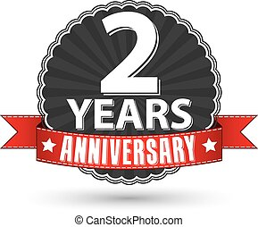 2 years anniversary retro label with red ribbon, vector illustration