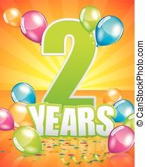 2 Years Birthday Card