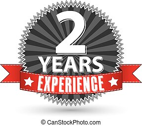 2 years experience retro label with red ribbon, vector illustration
