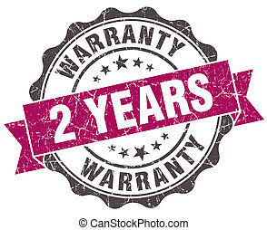 2 years warranty grunge violet seal isolated on white