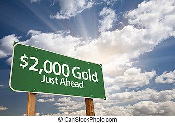 $2, złoty, zielony, droga znaczą, i, chmury