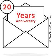 20, のように, 記念日, 年, 薄くなりなさい, 手紙, ロゴ, 線, 開いた
