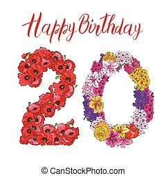 20, ディジット, 作られた, の, 別, 花, 隔離された, 白, バックグラウンド。, 誕生日おめでとう, inscription., ベクトル, イラスト