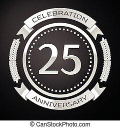 20, 記念日, イラスト, 年, バックグラウンド。, ベクトル, 5, 黒, リング, 銀, リボン, 祝福