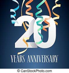 20, 記念日, 年, ベクトル, アイコン, ロゴ, 祝福