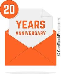 20, 記念日, 年, 手紙, オレンジ, アイコン