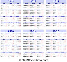 20, 2013, 2012, calendario, 2015, 2014