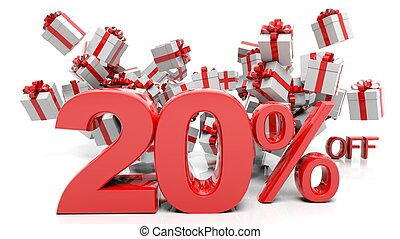 20% 3D numbers with bunch of gift boxes,isolated on white...